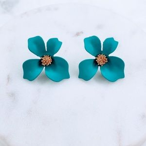 5 for $25 Blue Color Flower Statement Earrings